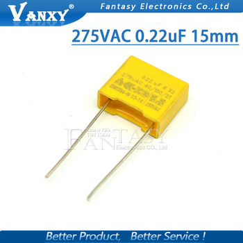 10pcs 220nF capacitor X2 capacitor 275VAC 220NF Pitch 15mm X2 Polypropylene film capacitor 0.22uF 111474