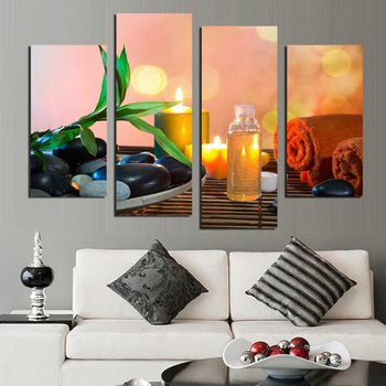 4 Panels Leaf Candle Stone Scenery Modern Print Canvas Painting For Wall Art Picture Home Decoration No Frame 24647