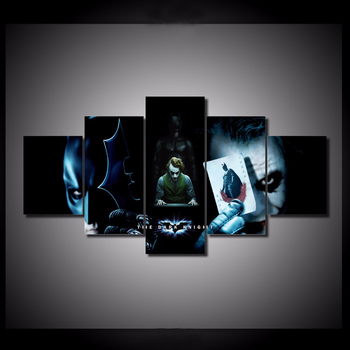 HD Printed 5 Pieces/set Batman VS Joker Pictures Canvas Painting Painting Wall Art Decorative Canvas Wall Art Modular Picture 24791