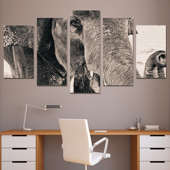 5 piece art canvas painting HD print wall pictures for living room elephant side face wall frames posters and prints ny-6030 26263