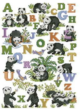 Needlework,DIY Cross Stitch,Sets For Embroidery kits,11CT&14CT&16CT&18CT,Panda alphabet 45307