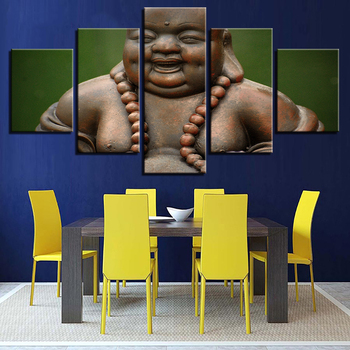Modular Picture Posters Modern HD Wall Art 5 Panel Smiling Face Buddha Home Decoration Living Room Printed Painting Canvas Frame 6412