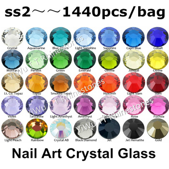 Wholesale 1440pcs/lot,ss2 (1.2mm) Multi Colors Crystal AB,Fuchsia 3D Flat Back Non Hotfix Nail Art Glue On Rhinestones 74008