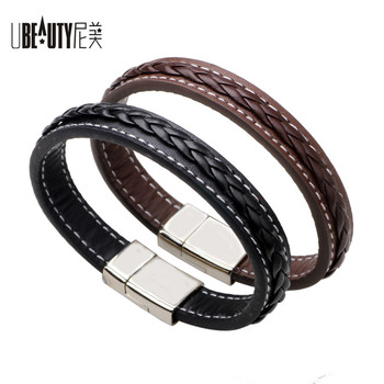 Punk Style Classic Genuine Leather Men Bracelet & Bangle Black/Brown Titanium Bangle Fashion Charm Jewelry with Delicate Clasp 83245